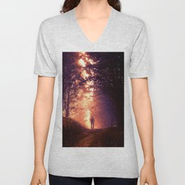 Blurred man in the woods Unisex V-Neck