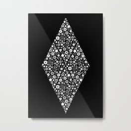 ZARAS FLOWER GARDEN BLACK AND WHITE Metal Print
