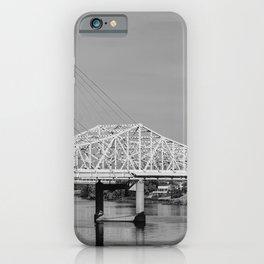 Louisville Bridges on the Ohio River - Black and White iPhone Case