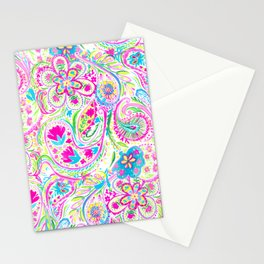 Paisley Watercolor Brights Stationery Cards