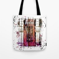 telephone Tote Bags featuring Telephone by Del Vecchio Art by Aureo Del Vecchio
