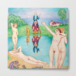 Summer Swim, Girl friends day off at the Pond, nude portrait painting by Nils Dardel Metal Print