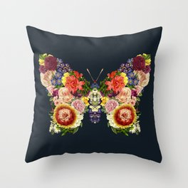 Spring Butterfly Floral Throw Pillow