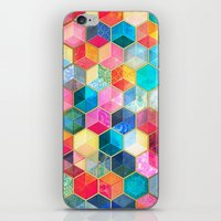 hexagon iPhone & iPod Skins featuring Crystal Bohemian Honeycomb Cubes - colorful hexagon pattern  by micklyn