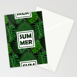 Tropical green monster leaves floral summer typography Stationery Cards