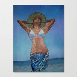Woman Wearing Hat And Sarong  Enjoying Summer Canvas Print