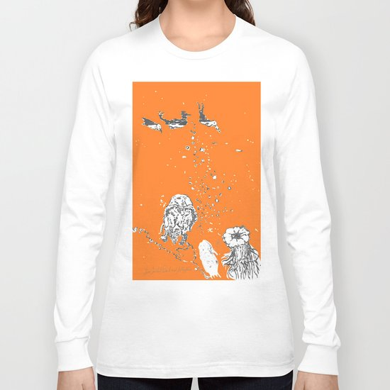 Two Tailed Duck and Jellyfish Orange Long Sleeve T-shirt