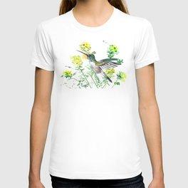 mmingbird design green yew Hummingbird and Yellow Flowers T-shirt