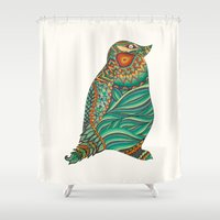 ethnic Shower Curtains featuring Ethnic Penguin by Pom Graphic Design