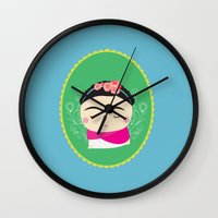 frida kahlo Wall Clocks featuring frida kahlo by WreckThisGirl