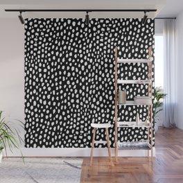 Handmade polka dot brush strokes (black and white reverse dalmatian) Wall Mural