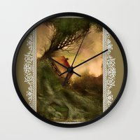 wind Wall Clocks featuring Wind by Iris V.