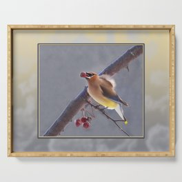 Cedar Waxwing With Berry Serving Tray
