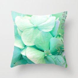 Mint Hydrangea floral art Throw Pillow