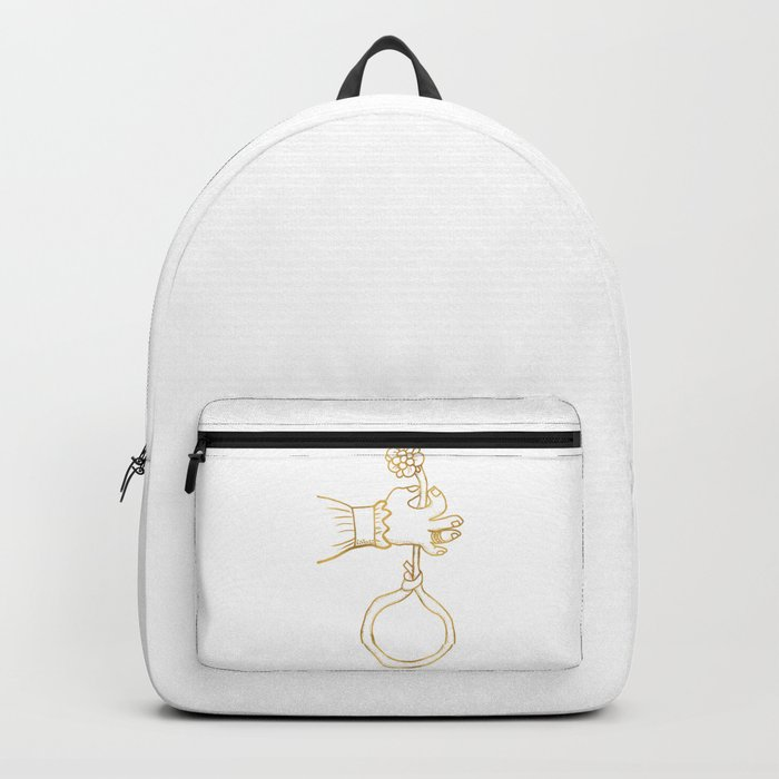 the river holds a flower . gold Backpack