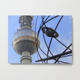 """BERLIN TV Tower with detail of """"World time Clock"""" Metal Print"""