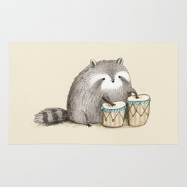 Raccoon on Bongos Rug