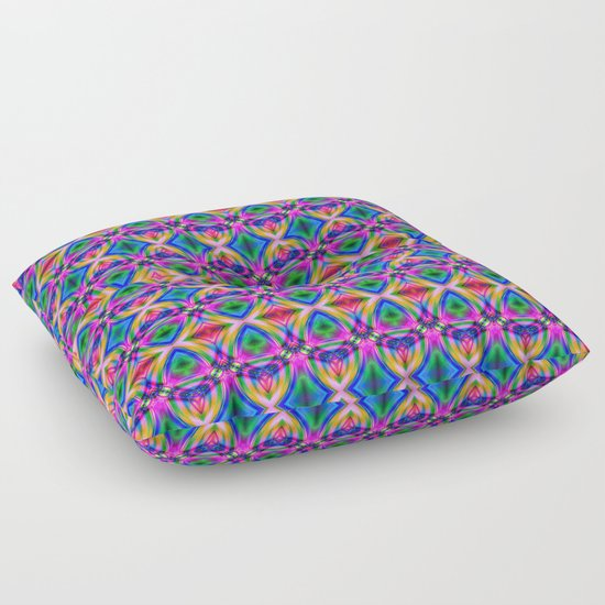 Groovy Psychedelic Diamond Pattern Floor Pillow
