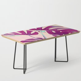 Monstera Leaves Violet Coffee Table