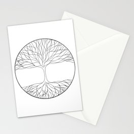 black and white minimalist tree of life line drawing Stationery Cards