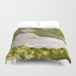 Springtime by Claude Monet Duvet Cover