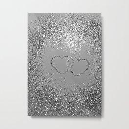 In Love Sparkling Glitter Hearts #3 (Faux Glitter) #silver #decor #art #society6 Metal Print