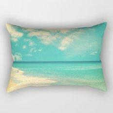 Retro beach and turquoise sky (square) Rectangular Pillow