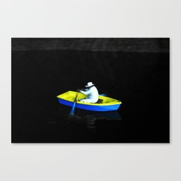 Boat in the cave Canvas Print
