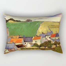 View of Auvers, Vincent van Gogh. Rectangular Pillow