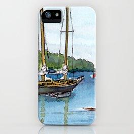 Wooden Sailboat Kayak on the Northwest Arm, Halifax, NS iPhone Case
