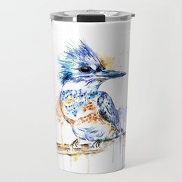 Kingfisher Colorful Watercolor Bird Painting Travel Mug