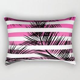 Tropical neon pink pastel ombre gradient palm tree white geometric stripes Rectangular Pillow