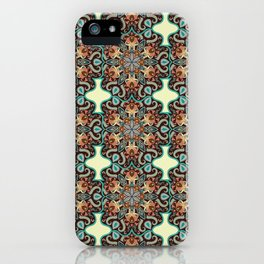 Colorful abstract ethnic floral mandala pattern iPhone Case
