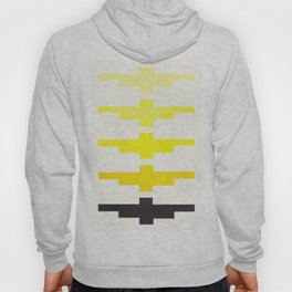 Mid Century Minimalist Ancient Aztec Inca Geometric Pattern Watercolor Yellow Colorful Gouache Paint Hoody