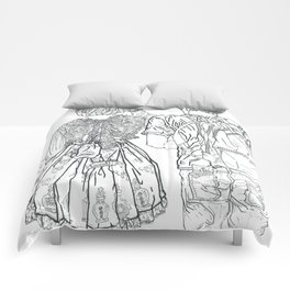Geometric Japanese Black and White Linework Love couple Comforters