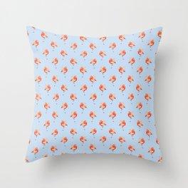 Feathery Friend Pattern - light blue Throw Pillow