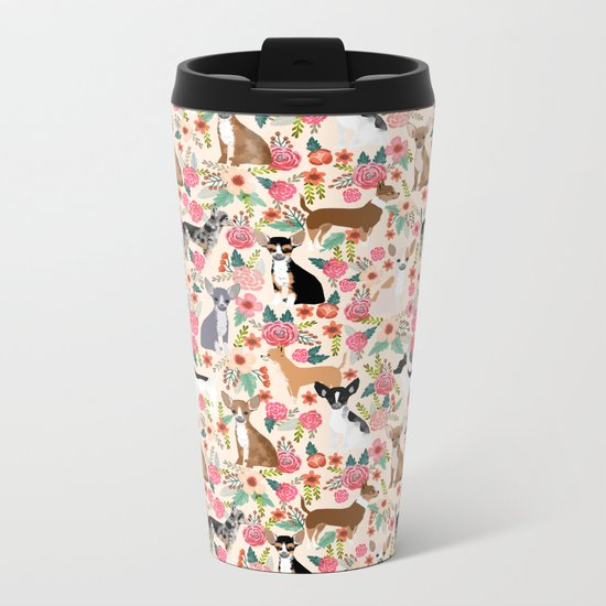 Chihuahua florals cute pastel dog breed must have gifts for small dog owner dog person pet portraits Metal Travel Mug