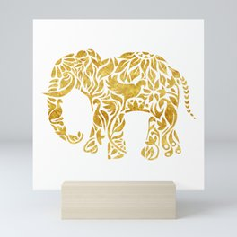 Floral Elephant in Gold Mini Art Print