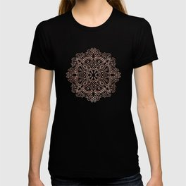 Mandala Rose Gold Pink Shimmer on Light Cream T-shirt