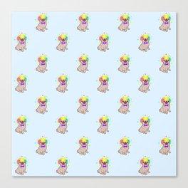 Pug dog in a clown costume pattern Canvas Print