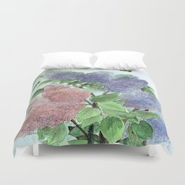 Lilacs and Bees Watercolor Painting Duvet Cover