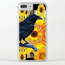 GRAPHIC BLACK CROW & YELLOW SUNFLOWERS ABSTRACT Clear iPhone Case