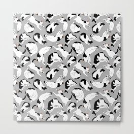 Sleepy Cat Pattern - Black and White Metal Print