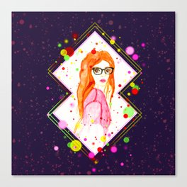 Watercolor red head girl with glasses Canvas Print