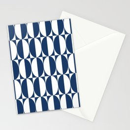 Mid Century Modern Geometric Half Oval Pattern 248 Navy Blue Stationery Cards