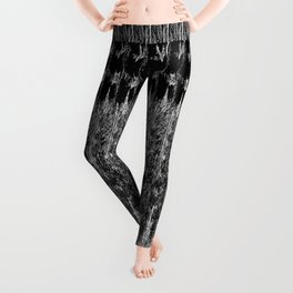Feather Pattern   Bird Feathers   Black and White   Leggings