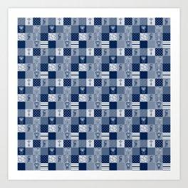 Jungle Friends Shades of Blue Cheater Quilt Art Print