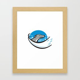 Greyhound Dog Head Water Bubble Oval Retro Framed Art Print