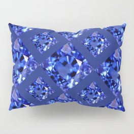 FACETED BLUE ON BLUE SAPPHIRE GEMSTONES Pillow Sham