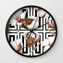 Cotton Flower Pattern 07 Wall Clock
